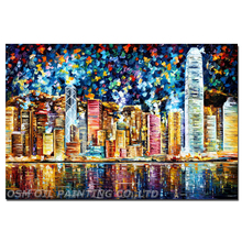 Professional Artist Hand-painted High Quality Colorful Hong Kong Oil Painting on Canvas Abstract Hong Kong Landscape Painting