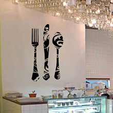 Fork Knife Spoon Wall Decals Kitchen Bakery Store Window Glass Cabinet Decor Wall Stickers(China)