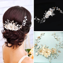 Gorgeous Handmade Wired Crystal Rhinestone Pearls Flower Wedding Hair accessories Hair Vine Hairband Bridal Headband Bridesmaids(China)
