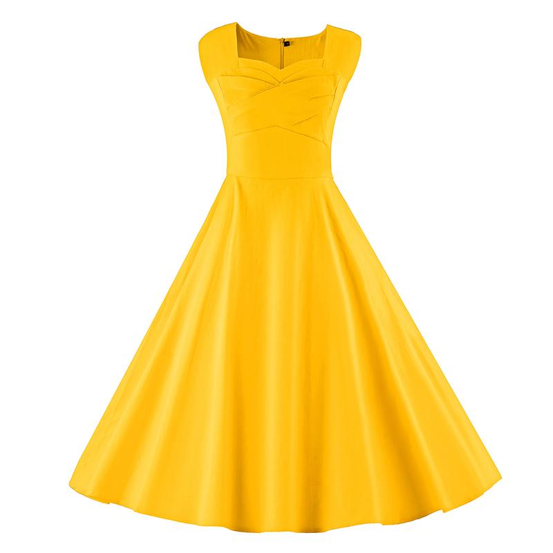 Kostlich 6 Color Retro Summer Dress Women 2017 Sleeveless Hepburn 50s Vintage Dress Elegant Big Swing Rockabilly Party Dresses (9)