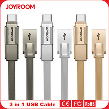 Original Joyroom S-M338 High Quality Metal Flat Cable Micro USB + Type C + 8 Pin 3 in 1 Data & Sync Charging Cable