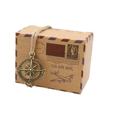 50pcs Kraft Paper Candy Boxes Chocolate Packaging Box Gift with Globe and Compass For Guests Party Decoration Wedding Supplies