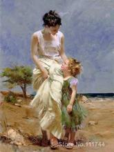 Beautiful women art Joyful Moments Pino Daeni painting for sale High quality Hand painted(China)
