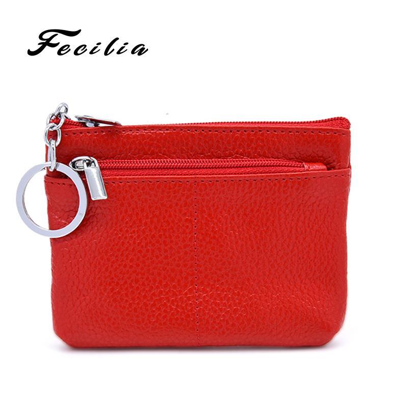 Fecilia New double zipper purse Genuine Leather Coin Purse Women Wallet Zipper Mini Key Holder Men Card Holder Bags Money