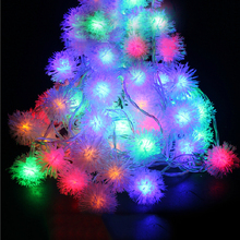 10M 100pcs Ball LED String Fairy Light Garland Furry Snow Ball Edelweiss Christmas String Lights Outdoor Garden Light 220V