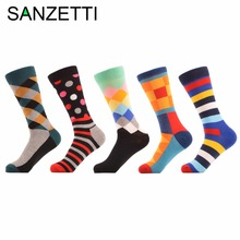 SANZETTI 5 pair/lot Man Colorful Funny Printing Socks Breathable Spring Autumn Socks Happy Socks(China)