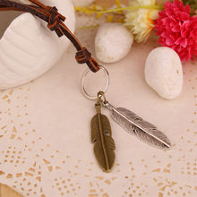 Vintage Style Pendant Necklace Unisex Charms Choker Wings Feather Pendant PU Leather Necklace Great Present for Lover(China)