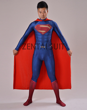 2016 Superman Costume Man of Steel Superman 3D Shade Spandex Lycra Halloween And Cosplay Zentai Suit Hot Sale Free Shipping(China)
