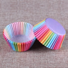 100 pcs rainbow cupcake paper liners Muffin Cases Cup Cake Baking egg tarts tray kitchen accessories Pastry decorating Tools(China)