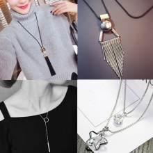 Free shipping 2017 New fashion tassel pendant long Sexy chain Jewelry chokers Necklace nice accessory for female wedding