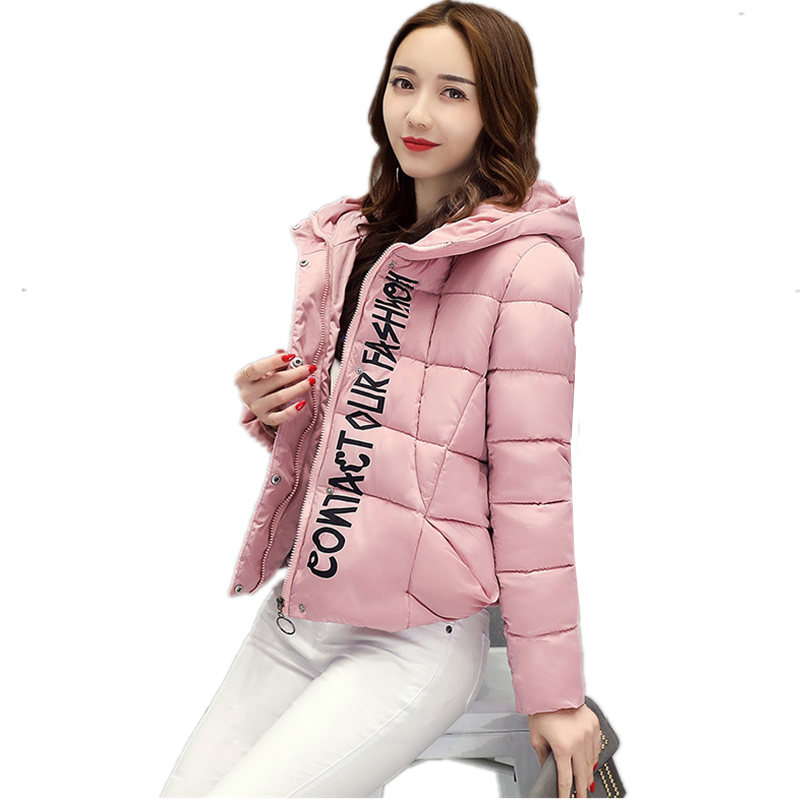 Winter New Fashion Short Cotton Ladies Alphabet Jacket Large Size Hooded Jacket Thickening Warm Padded-Cotton Tide Parkas MZ1697Îäåæäà è àêñåññóàðû<br><br>