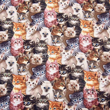 105*50cm 1pc Cat Fabric 100%Cotton Fabric Telas Patchwork Groups cats Print Fabric Sewing Material Diy Quilting Baby Clothing