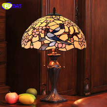 FUMAT Glass Art Table Lamp Wintersweet Living Room Stained Glass Lamp Cute Birds Shade Lamp Living Room Bedside Light Fixtures(China)