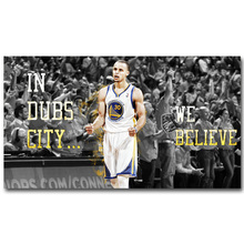 NICOLESHENTING Stephen Curry Motivational Quote Basketball Art Silk Fabric Poster Print 13x24 inch Picture Room Wall Decor 045