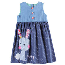 Girls party dresses nova kids jeans clothes fashion rabbit baby girls frocks summer hot sell girls dresses children's wear dress