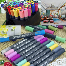 60pcs/lot New Twin Marker Markers tip 1mm round toe 6mm oblique oil Alcohol based ink   For Design (60 colors with bag)