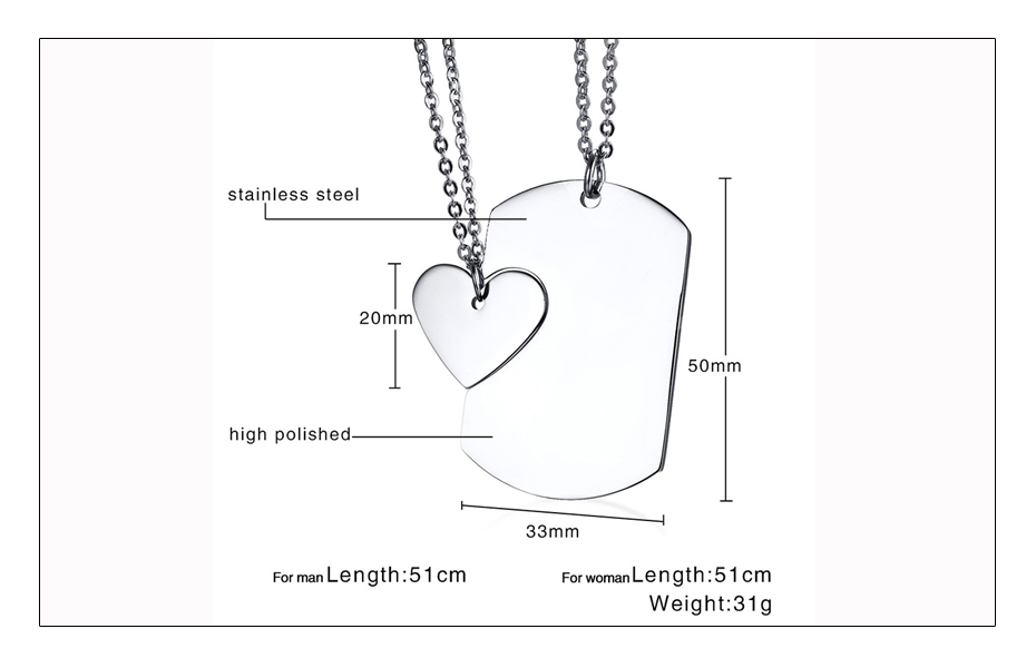 Meaeguet Personalized Stainless Steel Couple Heart ID Necklace Pendant Wedding Jewelry For Women Men Free Laser Engrave Collar (8)