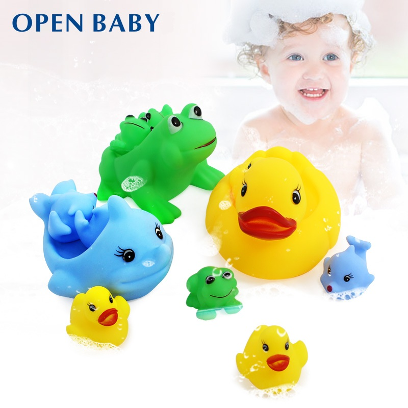 Promotion Total 3 Sets Squeaky Baby Bath Water Toys Good Quality 3 Big And  9 Small