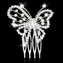 Butterfly Pattern Rhinestone Hair Comb Slide Clip Bridal Wedding Hair Accessory