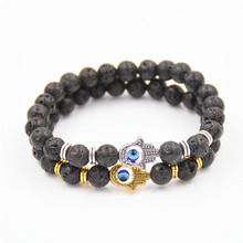 2016 NEW  Arrival 2 pcs Women/man 8mm black lava beads Jewelry golden/silver hand energe Party Gift Yoga Jewelry Bracelet  Q72