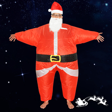 Funny Christmas Inflatable Santa Claus Costume cosplay Jumpsuit Air Fan Operated Blow Up Xmas Suit Christmas Party clothing(China)