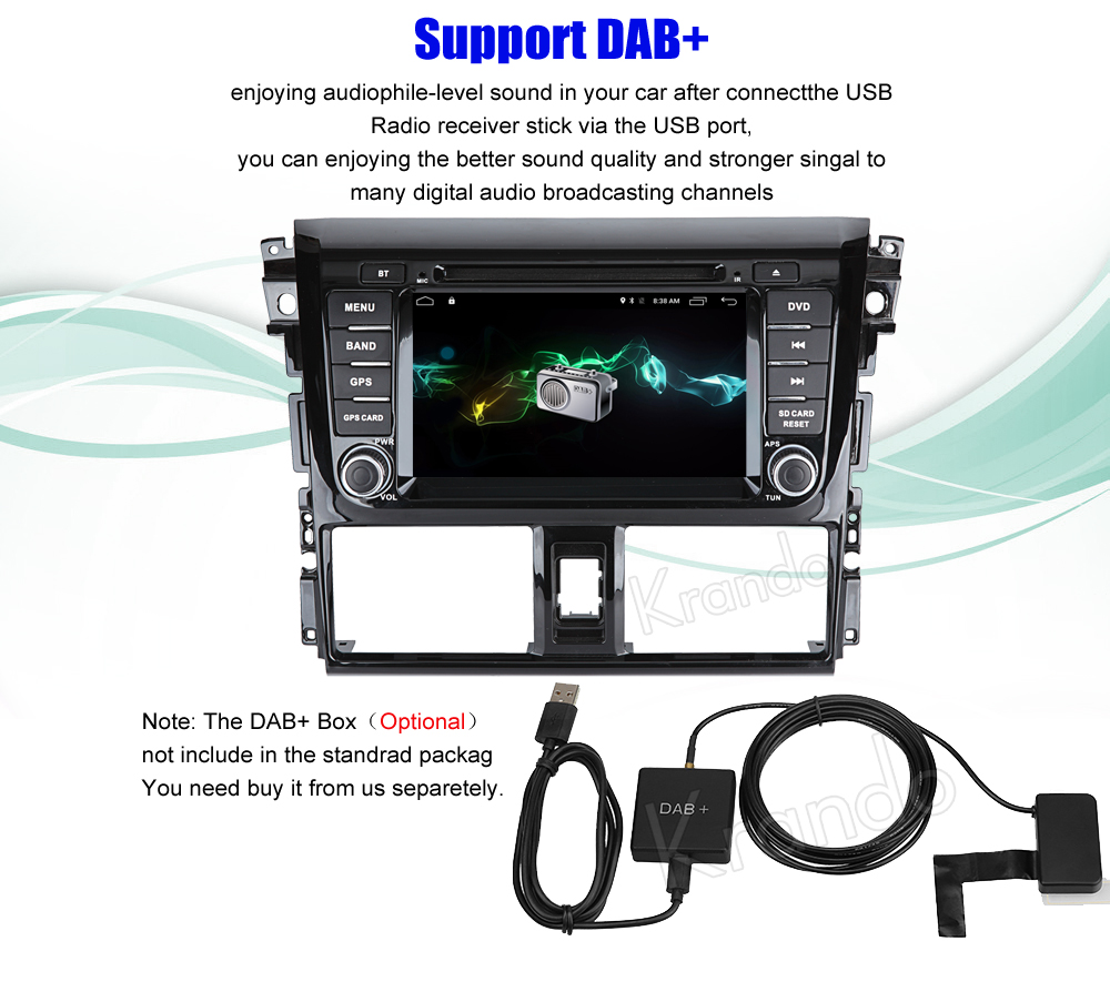 Krando android car radio stereo navigation gps for toyota yaris vios 2014 2015 2016 car dvd player multimedia system (6)