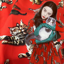 114cm width silk fabric,red cat print silk crepe fabric for women dress. smoothly nature Mulberry silk crepe fabric tissue(China)