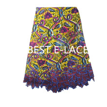 Floral super wax Hollandais embroidered African french lace net tulle fabric with guipure lace borders High quality 1705b0505d25