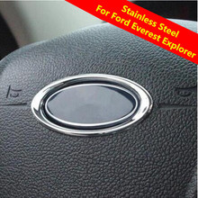 Car Steering Wheel Logo Refitting Chrome Circle Sticker For Ford New Everest For Ford Explorer 2015 2016 Accessories