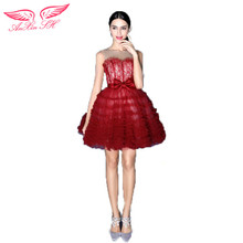 AnXin SH Wine red short lace bride Cocktail Dresses dinner will perform in the new red Cocktail Dresses 2490
