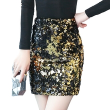Buy Womens Skirts Gold Sequined Mini Skirt Bodycon 2018 Spring New Pencil Skirt Short Wrap Skirt Office Lady Party Girl Saia for $33.74 in AliExpress store