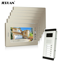 "JERUAN Brand New Apartment Intercom System 6 Monitor Wired 7"" Color Video Door Phone intercom System for In Stock FREE SHIPPING"