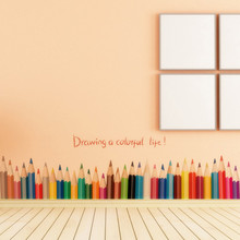 &% Color pencil baseboard skirting wall stickers Draw colorful life quote vinyl sticker living room kids room bedroom home decor
