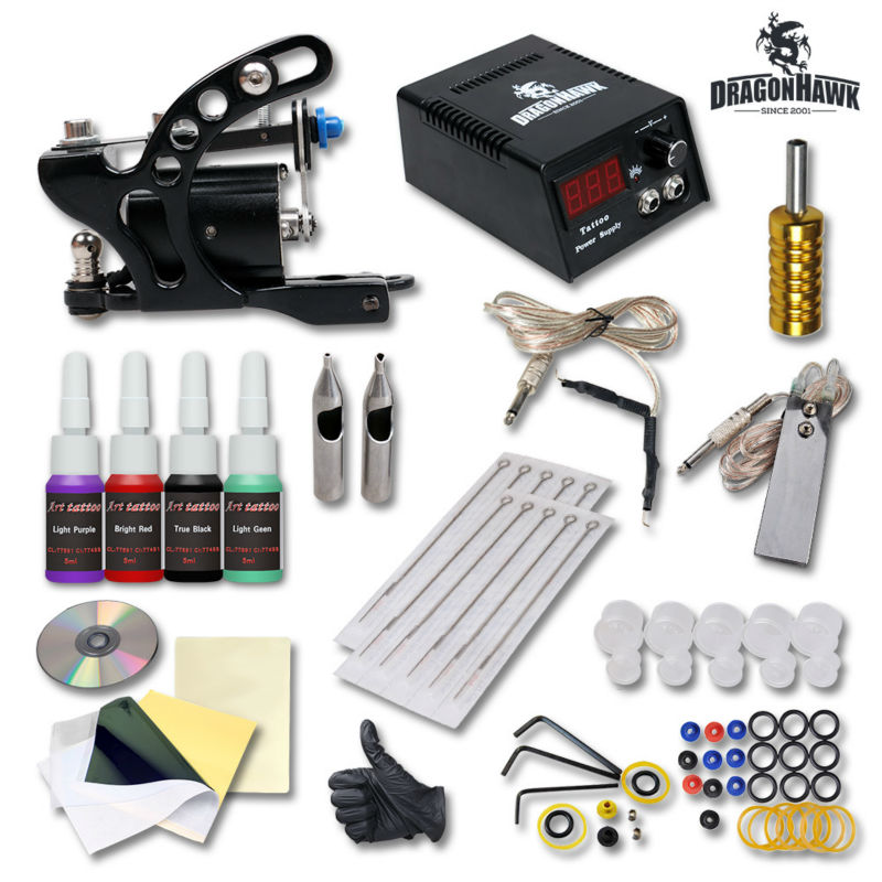 Top Quality Tattoo Set Complete Rotary Tattoo Machine Kit Power Needles Tattoo Equipment Supplies<br>