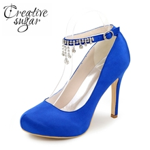 Creativesugar diamond tassel ankle strap woman satin dress shoes wedding guest party prom evening pumps royal blue red purple