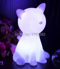 Free shipping Rainbow Colorful Animal Cat LED night light lamp for kids, Chien Night Lamp for Children Christmas Gift wholesales(China)