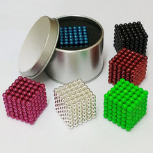 Free shipping 5mm Size 125 or 216 Magnetic Balls Grade Magic Puzzle Magnet Block Cubo Magico Toys 14 colors metal Box+bag+card