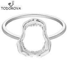 Todorova 10pcs Wholesale Steampunk Shark Jawbone Gold Silver Engagement Rings for Women Party Gift Vintage Jewelry