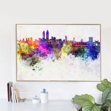Watercolor Mirage Chicago City Canvas Art Print Poster, Wall Art Picture for Living Room Decoration, Home Decor Painting(China)