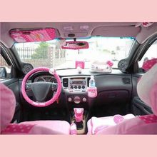 Hello Kitty Car Accessories Cute Cartoon KT Car Steering Wheel Cover Sun Visor CD Storage Bag Seat Belt Cover Shifter Hand Brake(China)