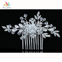 Bridesmaid Bridal Wedding Party Quality Handmade Flower Crystal Beads Hair Comb CT1375