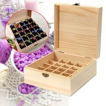 18.6*18.6*18.5cm 25 Slots Essential Oils Wooden Box Solid Pine Wood Case Holder Aromatherapy Bottles Storage Organizer(China)