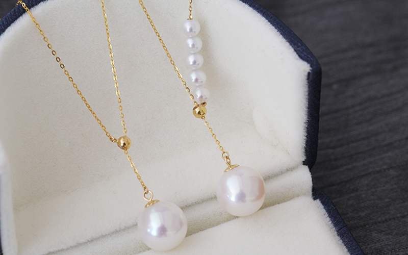 Sinya New Trendy Multifunctional Pendant 18k Au750 gold necklace for women girls lover Y style with Natural high luster pearls (3)