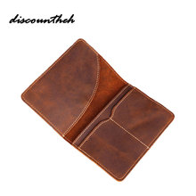Leather Long Wallet Passport Cover Business Men Cowhide Travel Passport Holder Bag Purse Retro Card Case Pack(China)