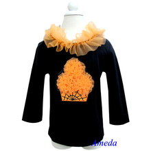Halloween Orange Spider Web Cupcake Black Long Sleeves Top Pettitop 1-7Y