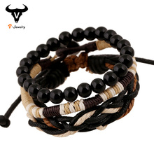 Original 3 In 1 Vintage Male Bracelets Black Wooden Ball Beads Strand Bracelets Handmade Rope Braided Charm Bracelet Men Jewelry