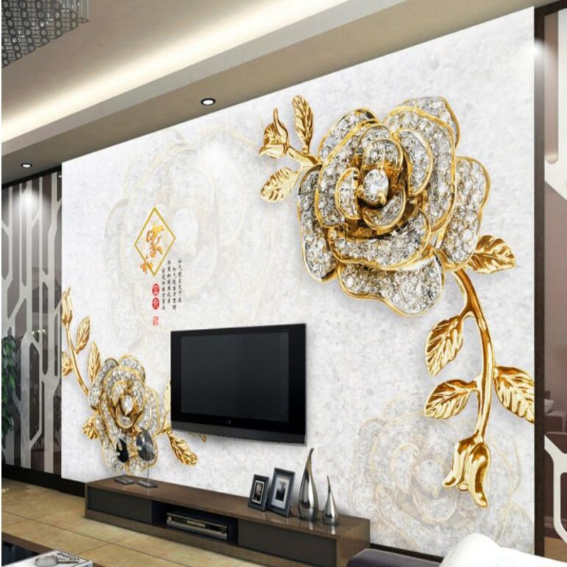 papel de parede Custom 3D Wallpaper Premium High-End Embossed Gold Flower 3D Stereo European Decorative TV Background Wall Livin<br><br>Aliexpress