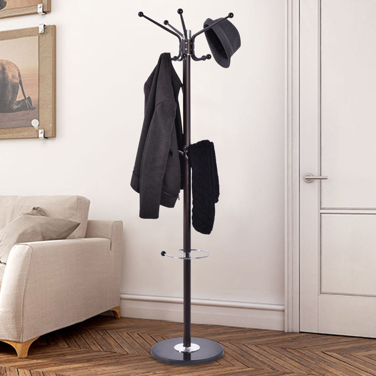 Giantex Metal Coat Rack Hat Tree Stand Clothes Holder Umbrella Bag Hanger Hall Modern Living Room Iron Clothes Hanger HW54001<br>