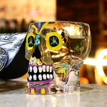 70ml Colorful Skull Glass Transparent Crystal Skull Head Shot Glass Cup For Whiskey Wine Vodka Home Ware Man Gift Cup