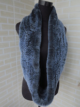 Genuine rex rabbit fur circle scarf wrap cape black with blue tips(China)